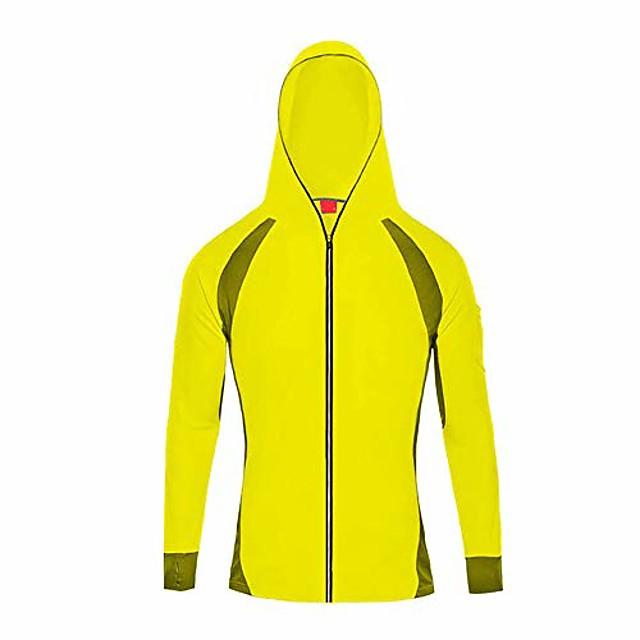 men's fishing shirts-bamboo fiber long sleeve uv sunscreen coat cloth quick drying with hood #1214 yellow-s(asia l)