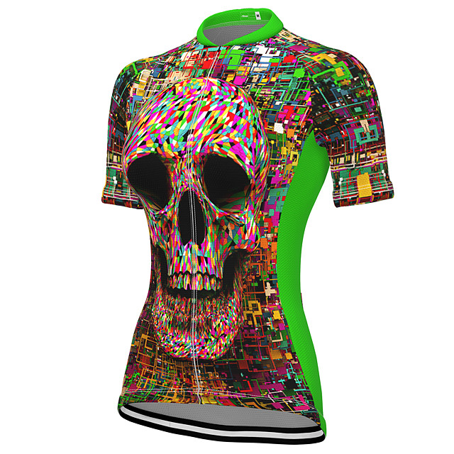 21Grams Women's Short Sleeve Cycling Jersey Summer Spandex Polyester Green Sugar Skull Skull Bike Jersey Top Mountain Bike MTB Road Bike Cycling Quick Dry Moisture Wicking Breathable Sports Clothing