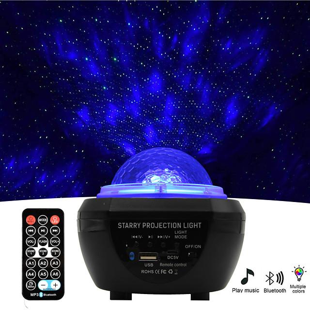 Luz de proyector Star Galaxy Mando a Distancia con altavoz de música Bluetooth Temporizador de apagado automático Fiesta Al aire libre Multicolor