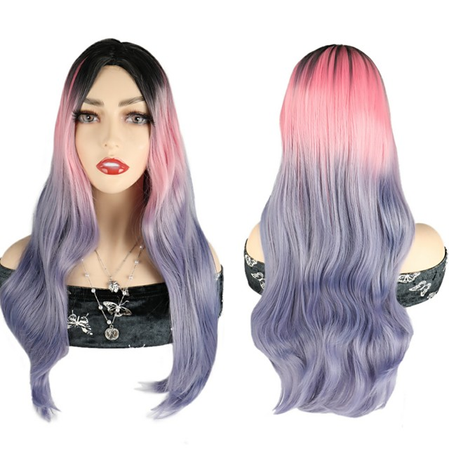 Ombre Body Wave Wigs Pink Purple Colorful Wigs Party Cosplay Wigs Synthetic Hair Wigs For Black Women