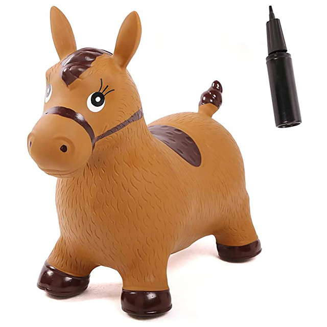 Inflatable Unicorn Bouncer Space Hopper, Pump Included, Ride-on Bouncy Animal Jumping Outdoor Toys to Play (Brown Horse)