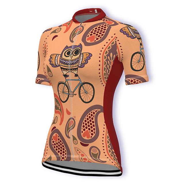 21Grams Women's Short Sleeve Cycling Jersey Summer Spandex Polyester Orange Bike Jersey Top Mountain Bike MTB Road Bike Cycling Breathable Reflective Strips Back Pocket Sports Clothing Apparel