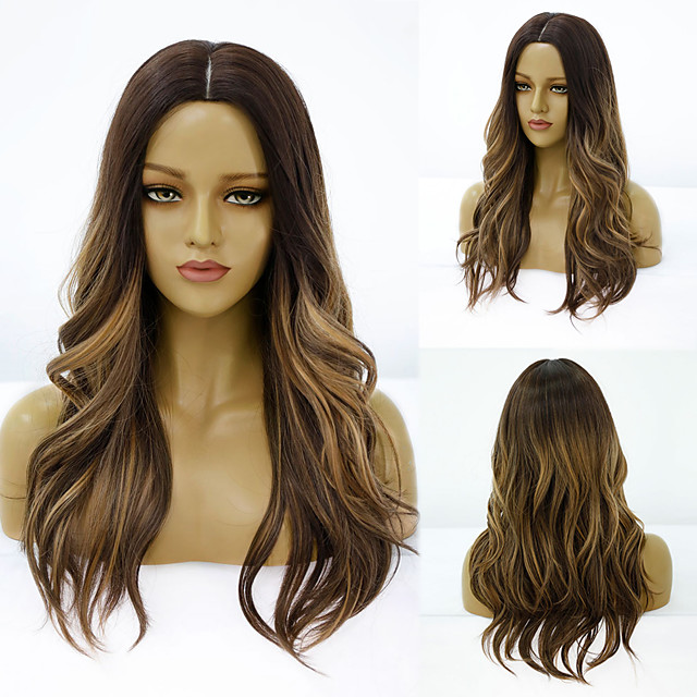 Synthetic Wig Deep Wave Middle Part Wig Medium Length A15 A16 A17 A18 A10 Synthetic Hair Women's Cosplay Party Fashion Black Brown