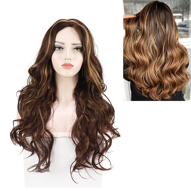 Wave Small Lace Front Wig For Women Honey Blonde Highlight 26 Inch Heat Resisant Wigs Free Cap