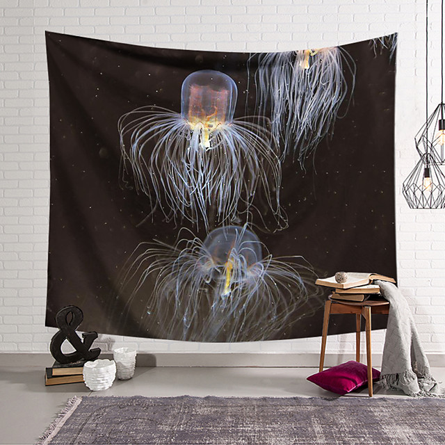 Wall Tapestry Art Decor Blanket Curtain Hanging Home Bedroom Living Room  Novelty Jellyfish Animal