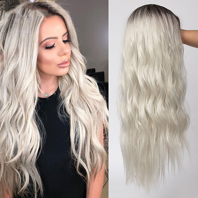 Long Hair Wavy Wig Highlight Grey Brown Honey Blonde Ombre Synthetic Wigs For Women Cosplay High Temperature Wig Msholy