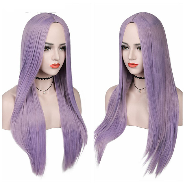 Synthetic Wig Natural Straight Middle Part Wig Medium Length A15 A16 A17 A18 A19 Synthetic Hair Women's Cosplay Party Fashion Purple