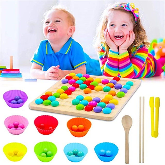 Wooden Peg Board Beads Game, Rainbow Clip Beads Puzzle, Early Education Puzzle Board Game for Kid