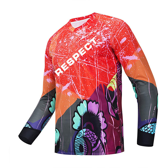 21Grams Men's Long Sleeve Downhill Jersey Spandex Polyester Red Bike Jersey Top Mountain Bike MTB Road Bike Cycling UV Resistant Quick Dry Back Pocket Sports Clothing Apparel / Athletic