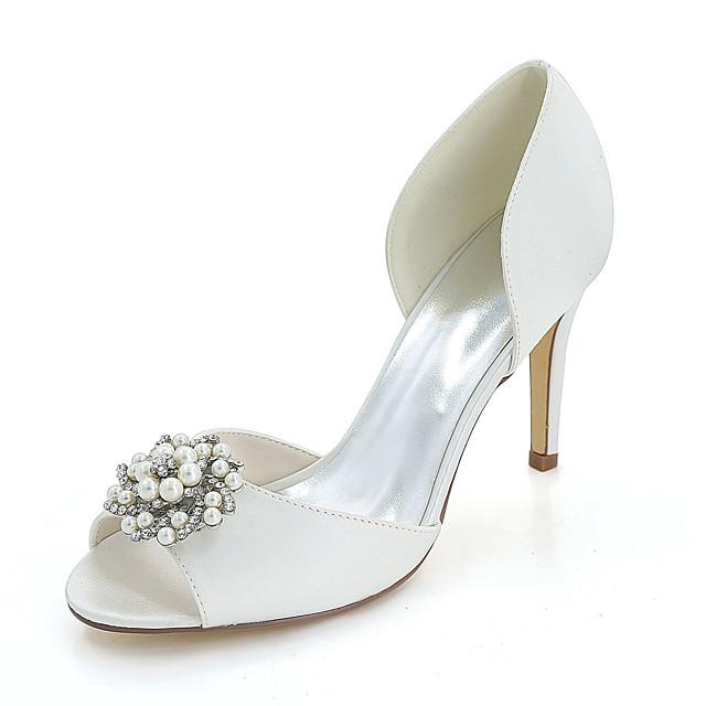 Women's Wedding Shoes Stiletto Heel Peep Toe Wedding Sandals Satin Rhinestone Imitation Pearl Solid Colored White Red Champagne