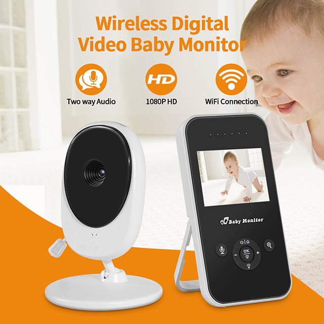2.4 inch digital baby wireless monitor off screen electronic amplification intercom temperature display night light