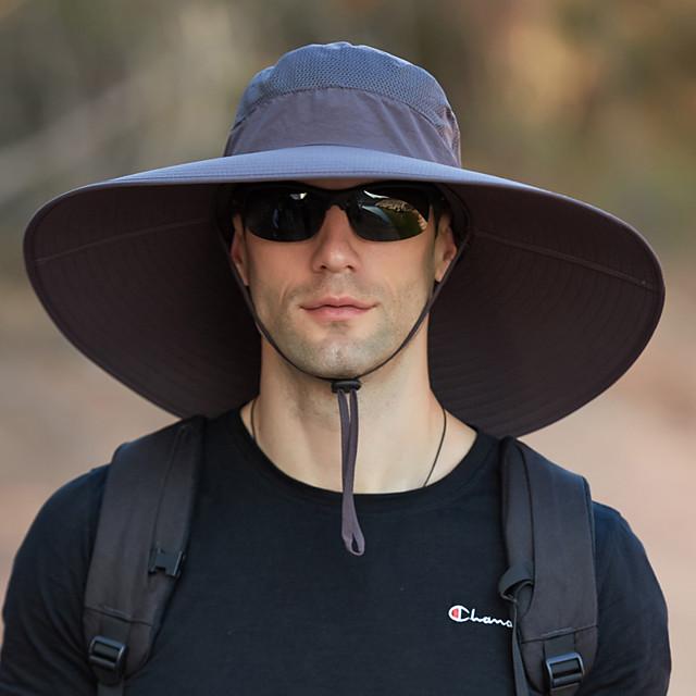 Super Wide Brim Sun Hat-UPF50+ Waterproof Bucket Hat  Sunscreen Sun Hat Fishing Hat Fisherman Hat Hiking Hat Army Green Grey Dark Gray for Fishing, Hiking, Camping
