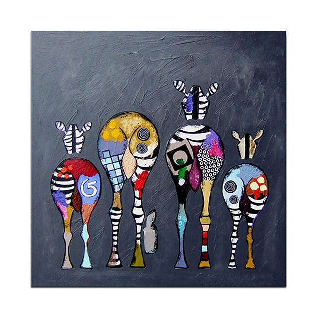Oil Painting Hand Painted Square Abstract Animals Modern Rolled Canvas (No Frame)