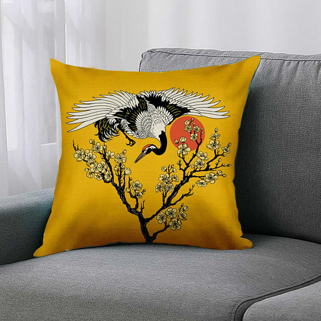 Double Side 1 Pc Floral Cushion Cover  Print 45x45cm Linen for Sofa Bedroom
