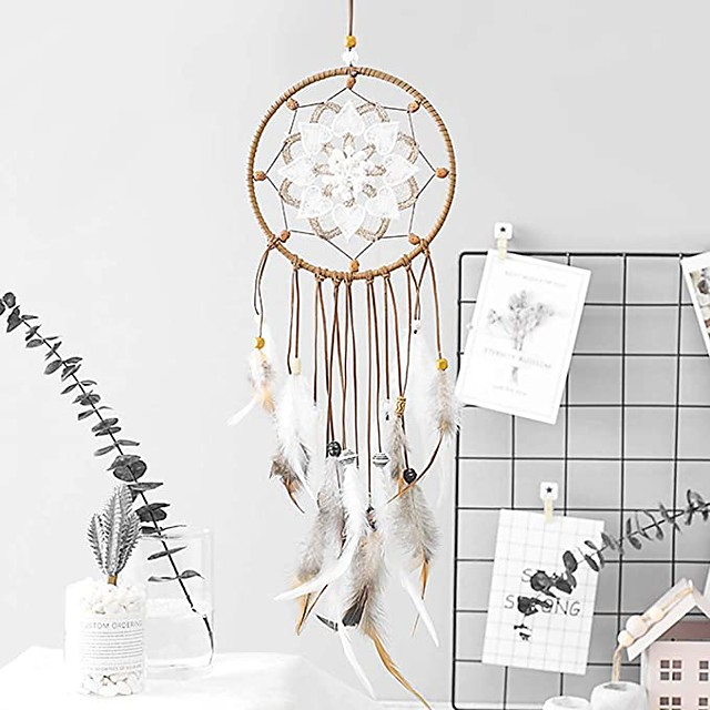 Dream Catcher Feathers Decoration Traditional Handmade Dream Catcher Hanging Ornament Home Bedroom and Car (Openwork Flower)