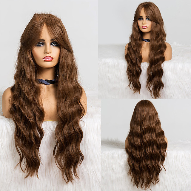 Synthetic Wig Deep Wave Middle Part Wig Medium Length A1 Synthetic Hair Women's Cosplay Party Fashion Dark Brown