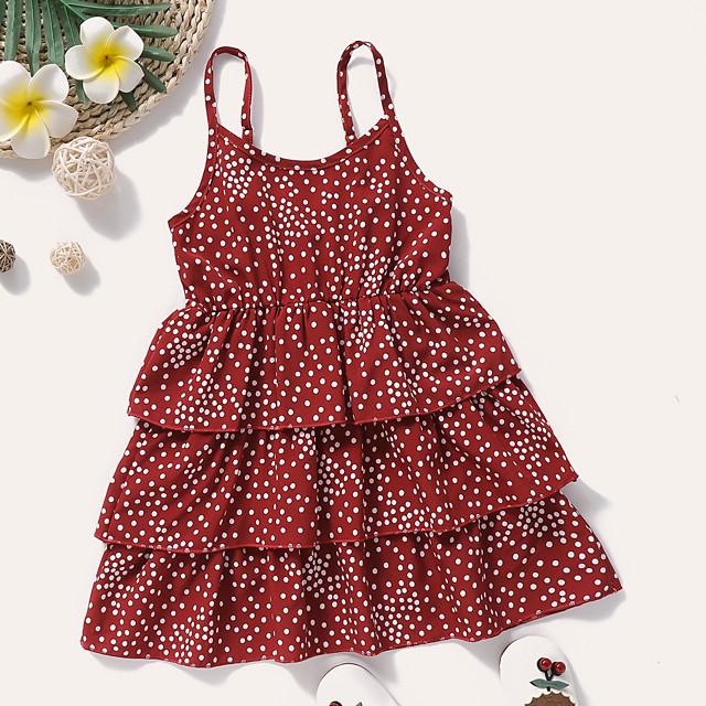 أطفال طفل صغير القليل للفتيات فستان منقط طباعة أحمر طول الركبة بدون كم نشيط فساتين الصيف عادي 2-8 سنوات