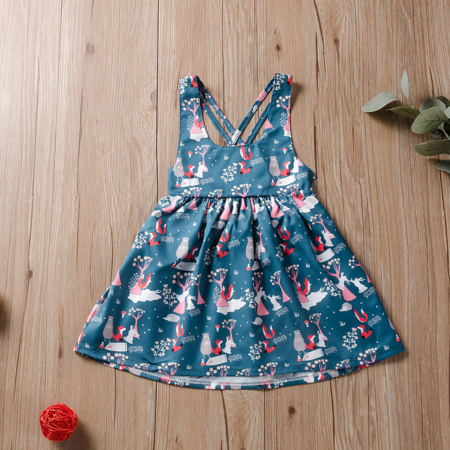 Kids Little Girls' Dress Floral Print Blue Knee-length Long Sleeve Active Dresses Summer Regular Fit 2-6 Years