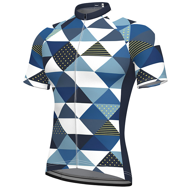 21Grams Men's Short Sleeve Cycling Jersey Summer Spandex Polyester Dark Blue Bike Jersey Top Mountain Bike MTB Road Bike Cycling Quick Dry Moisture Wicking Breathable Sports Clothing Apparel