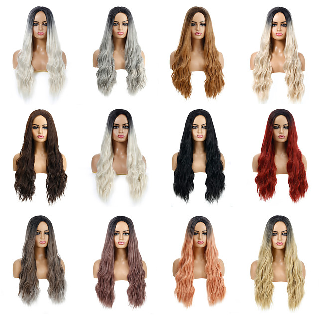 Synthetic Wig Deep Wave Layered Haircut Wig Medium Length Light Blonde Light Brown Dark Brown Creamy-white Wine Red Synthetic Hair Women's Cosplay Party Fashion Blonde Brown