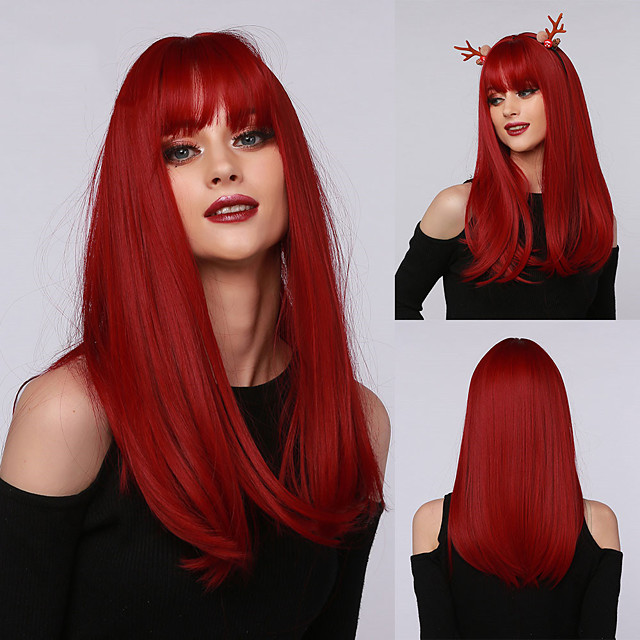 할로윈 코스프레 가발 긴 직선 딥 레드 합성 머리 가발 앞머리 블랙 화이트 여성 내열성 가발
