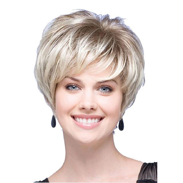 Perruque Synthétique Droite naturelle Coupe Dégradée Bob court Perruque Court Blond clair Cheveux Synthétiques Femme Soirée Mode Confortable Blond