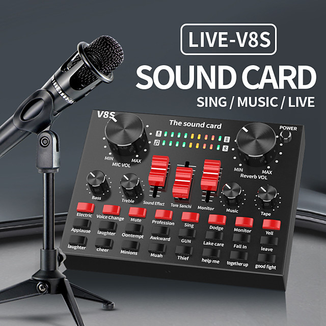 Sound Card V8S Audio Mixer Bluetooth Webcast Personal Entertainment Streamer Live Broadcast for PC Computer