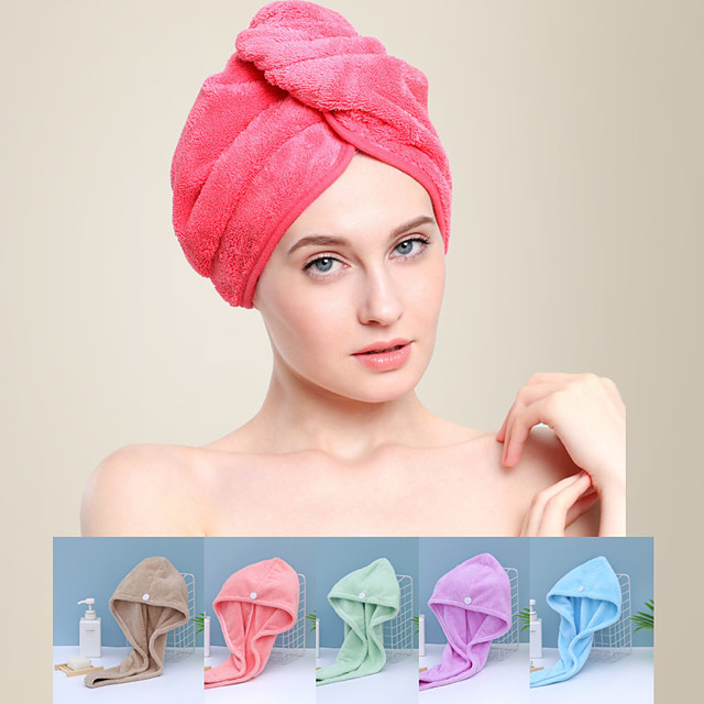 LITB Basic Bathroom Soft Coral Fleece Hair Wraps Quick-drying Towel Solid Colored Comfortable Daily Home Bath Towels 1 pcs