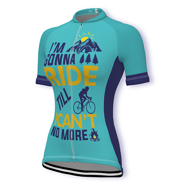 21Grams Women's Short Sleeve Cycling Jersey Summer Spandex Polyester Blue Bike Jersey Top Mountain Bike MTB Road Bike Cycling Quick Dry Moisture Wicking Breathable Sports Clothing Apparel / Stretchy