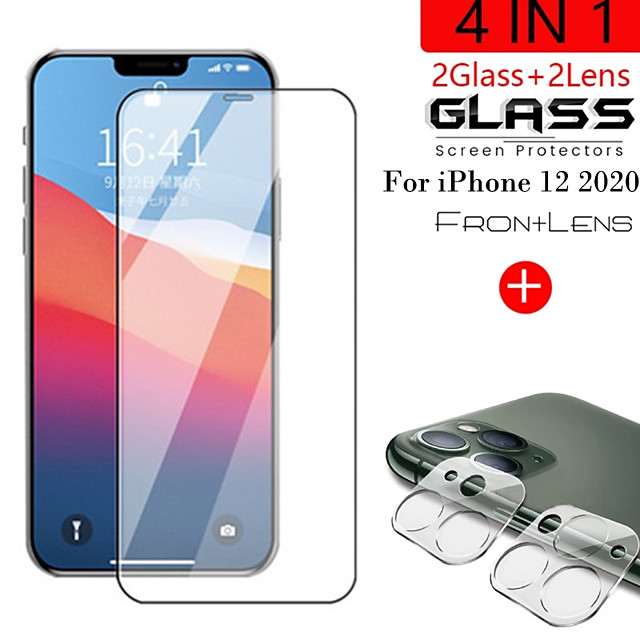 2in1 9D HD Black Protective Glass for iPhone12 Pro Camera Screen Protector For iPhone 12 Mini 12 Pro Max 11 Pro Max 11 Pro Glass on Ifone 12 Pro