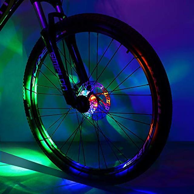 bisiklet göbeği ışığı, güvenlik su geçirmez bisiklet tekerleği ışıkları led bisiklet, çocuklar yetişkinler için gece sürüşü için jant ışığı konuştu (renkli, 2 paket)