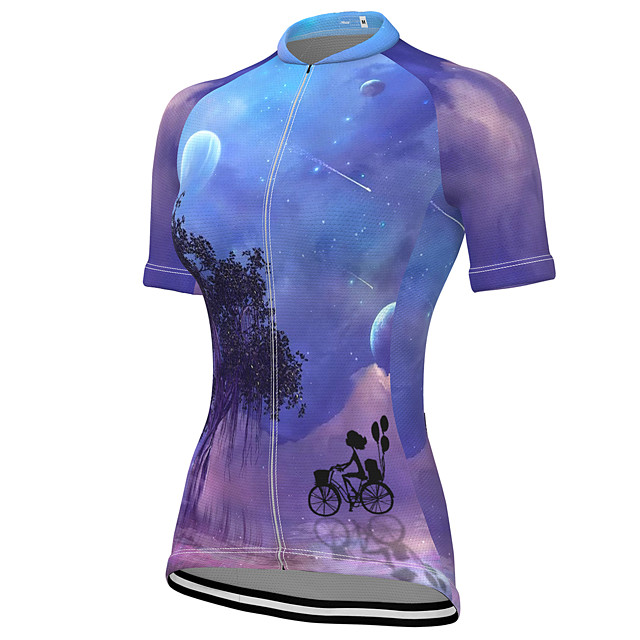 21Grams Women's Short Sleeve Cycling Jersey Summer Spandex Polyester Purple Bike Jersey Top Mountain Bike MTB Road Bike Cycling Quick Dry Moisture Wicking Breathable Sports Clothing Apparel