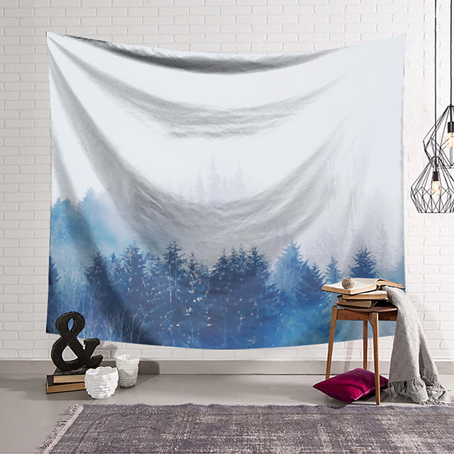 Wall Tapestry Art Decor Blanket Curtain Hanging Home Bedroom Living Room Decoration Polyester Blue Forest