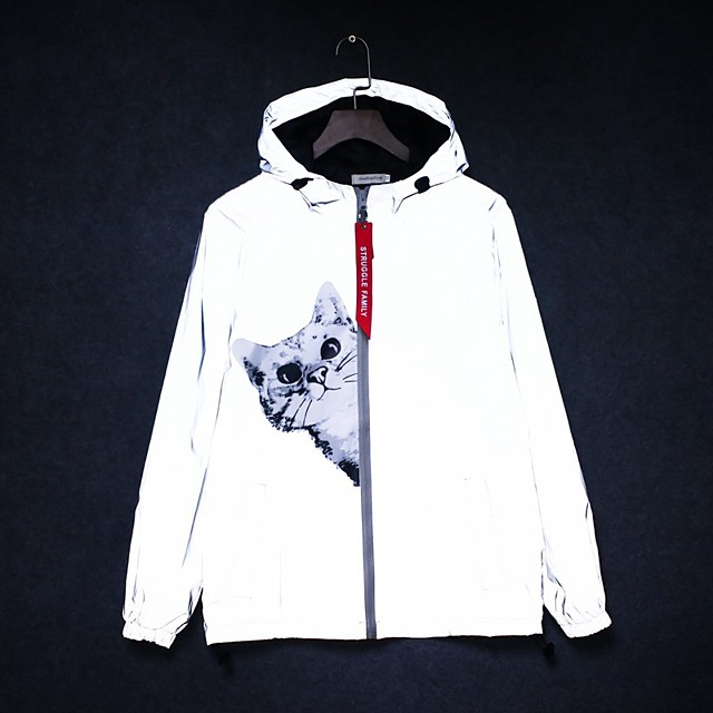 Women's Men's Reflective Jacket Hiking Jacket Hiking Windbreaker Autumn / Fall Spring Summer Outdoor Printing Windproof Quick Dry Lightweight Breathable Jacket Hoodie Top Full Length Visible Zipper