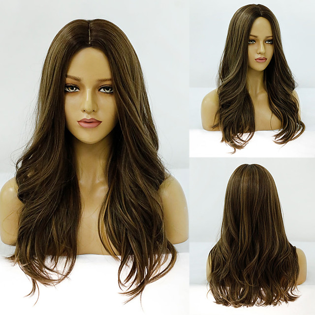 Synthetic Wig Deep Wave Middle Part Wig Medium Length A1 A2 A3 A4 A5 Synthetic Hair Women's Cosplay Party Fashion Brown