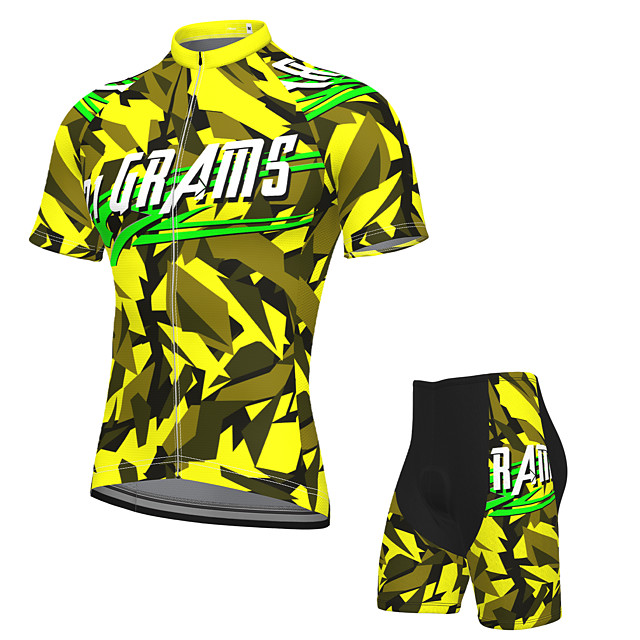 21Grams Men's Short Sleeve Cycling Jersey with Shorts Summer Spandex Polyester Black / Yellow Bike Clothing Suit 3D Pad Quick Dry Moisture Wicking Breathable Reflective Strips Sports Graphic Mountain