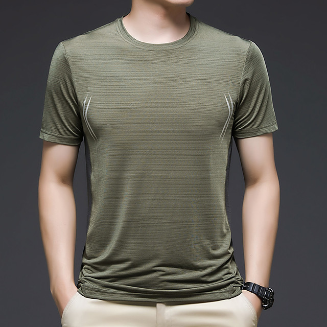 Men's T shirt Hiking Tee shirt Short Sleeve Crew Neck Tee Tshirt Top Outdoor Quick Dry Lightweight Breathable Stretchy Autumn / Fall Spring Summer Ice Silk Polyester White Black Blue Hunting Fishing
