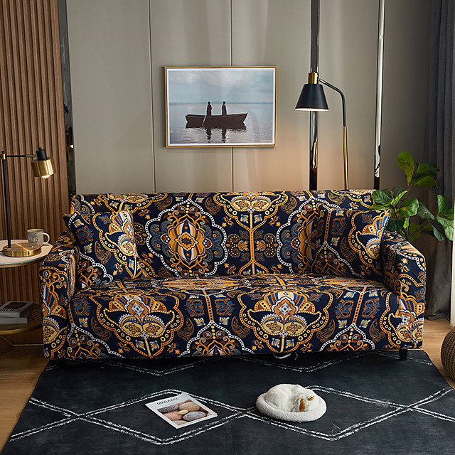 Stylish Simplicity Print Sofa Cover Stretch Couch Slipcover Super Soft Fabric Retro Hot Sale Couch Cover