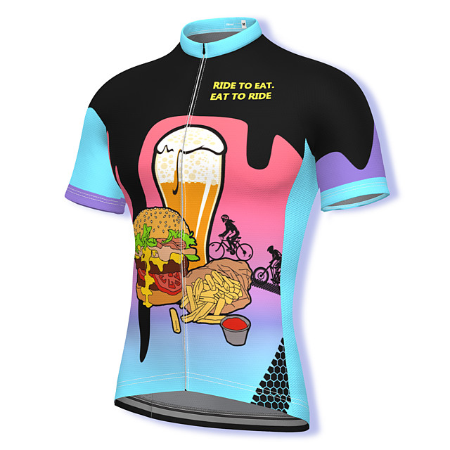 21Grams Men's Short Sleeve Cycling Jersey Summer Spandex Polyester Blue Bike Jersey Top Mountain Bike MTB Road Bike Cycling Quick Dry Moisture Wicking Breathable Sports Clothing Apparel / Athleisure