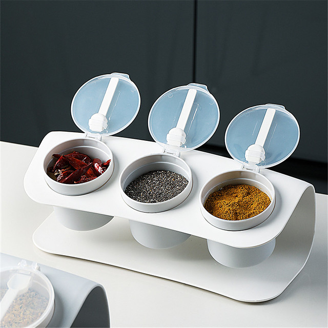 Seasoning Box Three-compartment Set Kitchen Combination Plastic Salt Shaker Seasoning Storage Box Moisture-proof