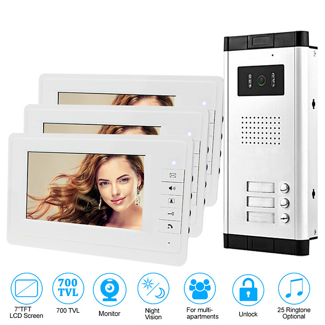 Apartment Video Door Phone Intercom Doorbell Camera 7 Inch LCD Display Monitor for One to Three Family Camera 700TVLine CMOS 3.6mm Lens Hands-free