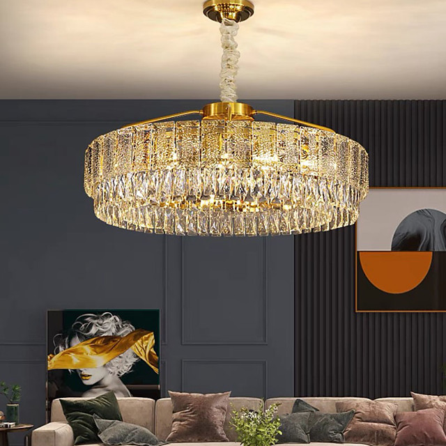 60 cm Crystal Chandelier LED Pendant Light Lantern Desgin Chandelier Metal Electroplated LED 110-120V 220-240V