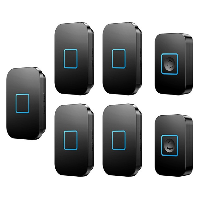 CACAZI Wireless Waterproof Doorbell LED Light 300M Remote 2 Button 5 Receiver Calling Bell