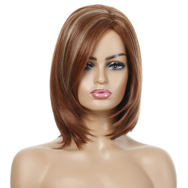 Synthetic Wig Straight Side Part Wig Short Brown / Burgundy Synthetic Hair Women's Party Fashion Comfy Brown