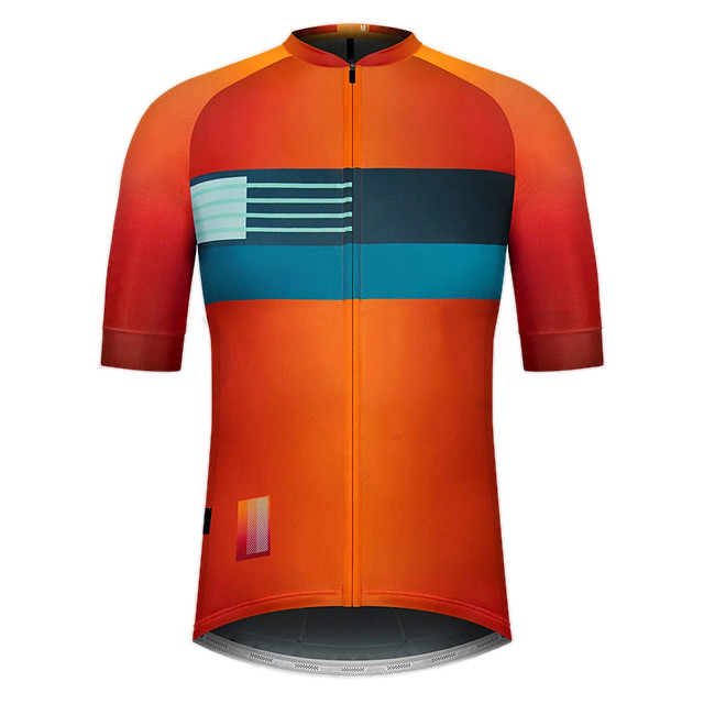 21Grams Men's Short Sleeve Cycling Jersey Summer Spandex Polyester Orange Bike Jersey Top Mountain Bike MTB Road Bike Cycling Quick Dry Moisture Wicking Breathable Sports Clothing Apparel