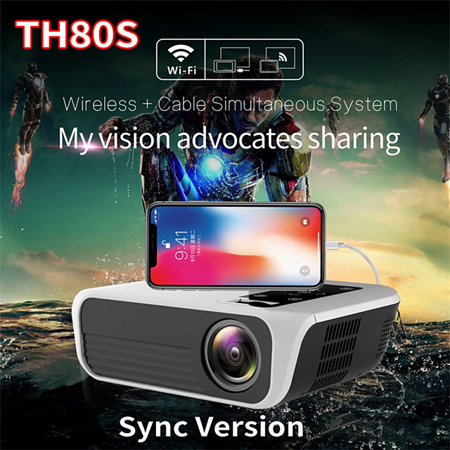 Factory Outlet TH80 Mini Projector LED Projector 6500 lm Android 7.1 WIFI Projector