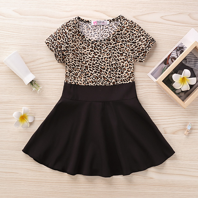 Kids Little Girls' Dress Leopard Print Black Long Sleeve Active Dresses Summer Regular Fit 2-6 Years