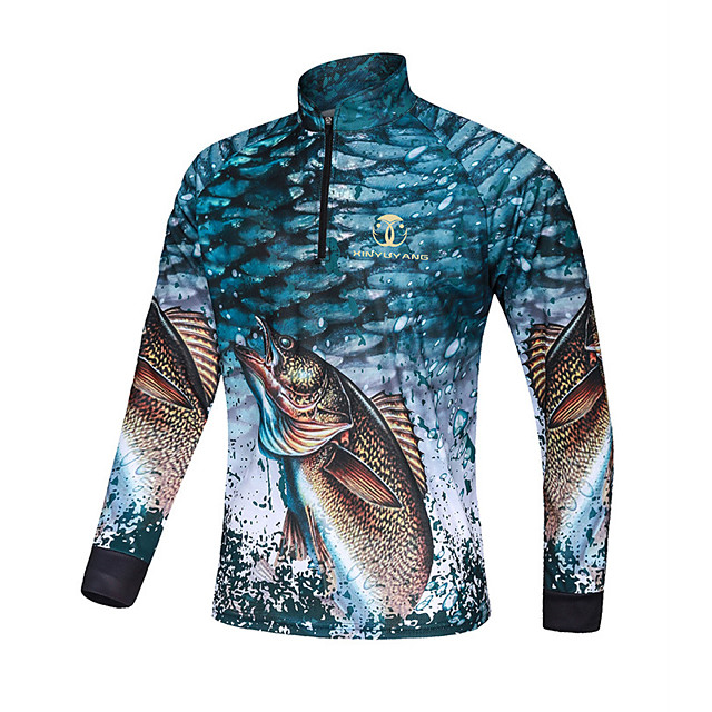 Women's Men's Fishing Jacket Skin Coat Outdoor UPF50+ Quick Dry Lightweight Breathable Jacket Spring Summer Fishing Camping & Hiking Cycling / Bike Blue / Long Sleeve / Stretchy