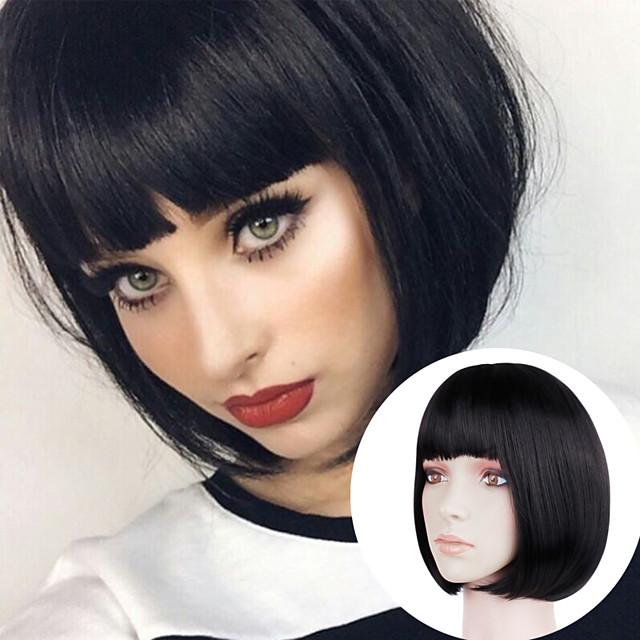 Natural Straight Short Black Gold Wig Headgear Chemical Fiber Short Hair Bob Head Student Head With Bangs Classic Wig Hair Cover