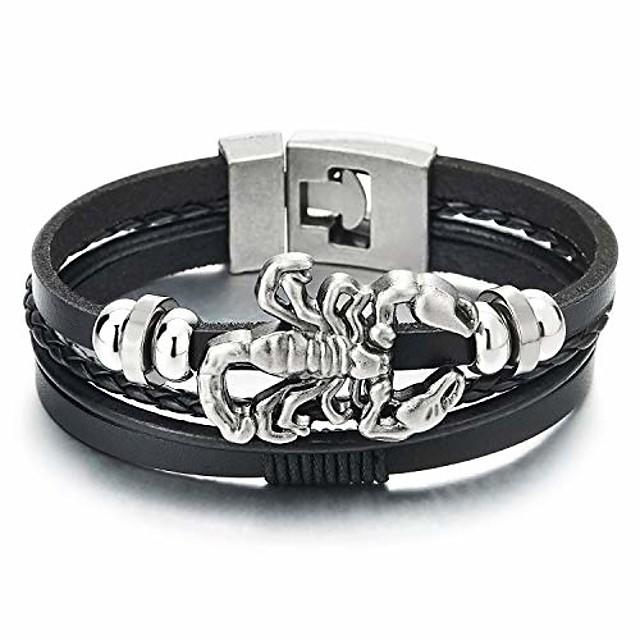 mens multi-strand black leather bangle wrap wristband bracelet with vintage scorpion and beads